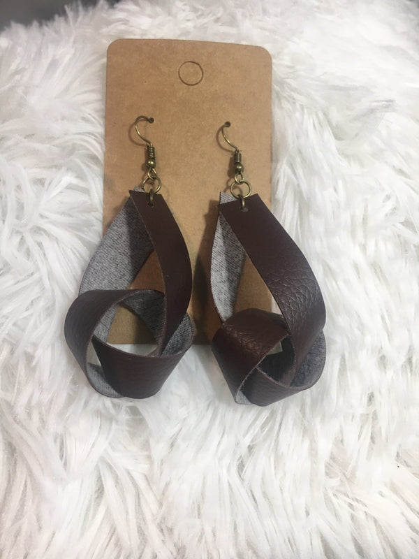 Leather Knot Earrings - Lotus Ave. Boutique