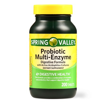 Spring Valley Probiotic Multi-Enzyme Digestive Formula Tablets, 200 Ct