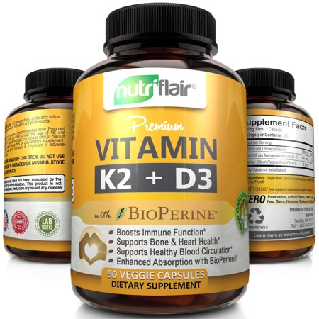 NutriFlair Vitamin K2 (MK7) + D3 5000 IU Supplement with BioPerine Black Pepper - Supports Stronger Bones, Heart Health & Immune System, 90 Veggie Capsules