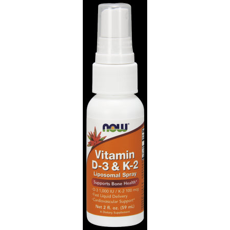 NOW Vitamin D-3 1000 IU & K-2 100 Liposomal Spray, 2 OZ