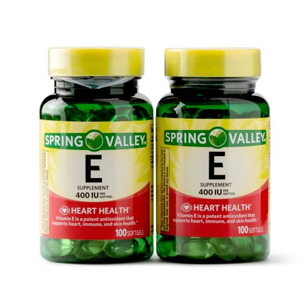 Spring Valley Vitamin E Supplement, 400IU, 200 Softgel Capsule Twin Pack