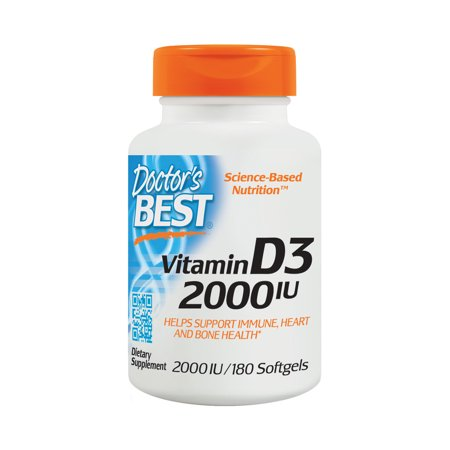 Doctor's Best Vitamin D3 2000IU, Non-GMO, Gluten Free, Soy Free, Regulates Immune Function, Supports Healthy Bones, 180 Softgels