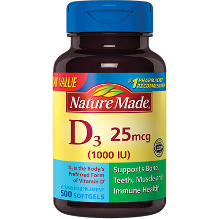 Nature Made Vitamin D3 25mcg/1000IU Softgels Value Size, 500ct