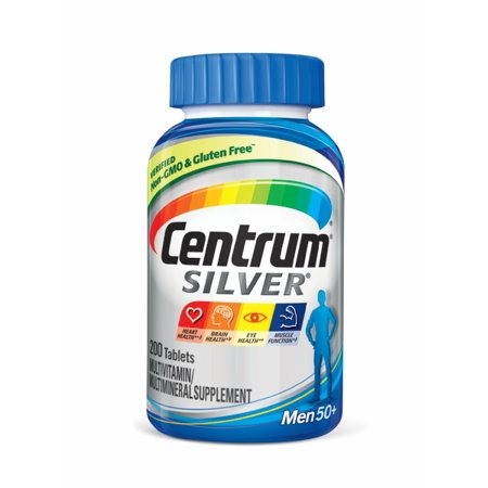 Centrum Silver Men (200 Count) Complete Multivitamin / Multimineral Supplement Tablet, Vitamin D3, B Vitamins, Zinc, Age 50+