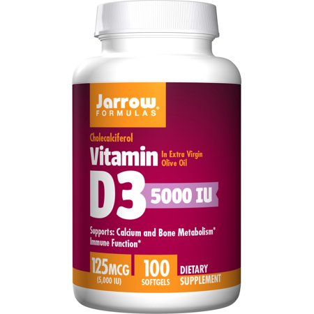 Jarrow Formulas Vitamin D3, Supports Calcium and Bone Metabolism, 5000 IU, 100 Softgels