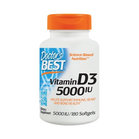 Doctor's Best Vitamin D3 5000IU, Non-GMO, Gluten Free, Soy Free, Regulates Immune Function, Supports Healthy Bones, 180 Softgels