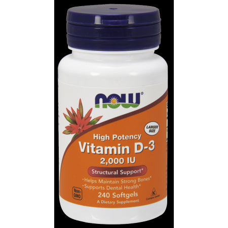 NOW Vitamin D-3 2000 IU Softgels, 240 Ct
