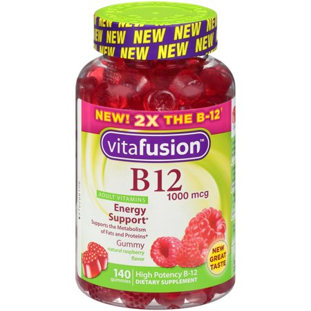 Vitafusion Adult Vitamin B12 Gummies, Raspberry, 1000 mcg, 140 Ct