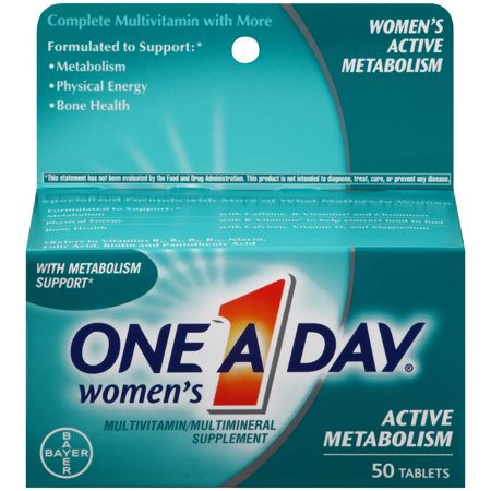 One A Day Women's Active Metabolism Multivitamins, Supplement with Vitamins A, C, E, B2, B6, B12, Iron, Calcium and Vitamin D, 50 ct.