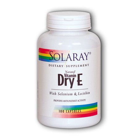 Solaray Dry Vitamin E plus Selenium and Lecithin 200 IU - 100 Capsules
