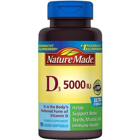 Nature Made D3 5000 IU Liquid Softgels - 90 CT