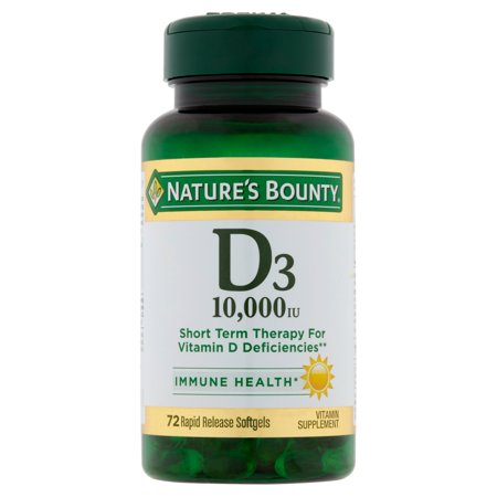 Nature's Bounty Vitamin D3, 10,000 IU Rapid Release Softgels, 72 Ct