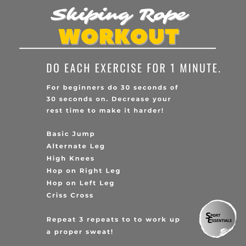 Skipping Workout Graphic -  Image Text says: Do Each exercise for 1 minute. For beginners do 30 seconds of 30 seconds on. Decrease your rest time to make it harder! Basic Jump, Alternate Leg, High Knees, Hop on Right Leg, Hop on Left Leg, Criss Cross.  Repeat 3 repeats to to work up a proper sweat!