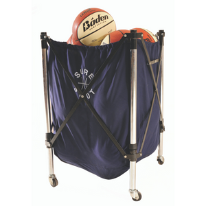 Navy Sure Shot ball caddy with wheels carrying 12 official sized basketballs
