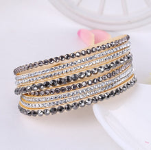 Load image into Gallery viewer, Rhinestone Leather Wrap Bracelet