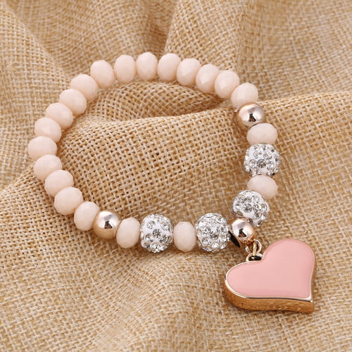 Beaded Heart Bracelet in Various Styles and Colors