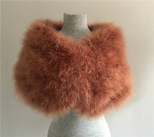 Authentic Ostrich Fur Stole- Multiple Colors Available
