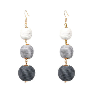 Statement Pom Pom Drop Earrings