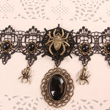 Load image into Gallery viewer, Halloween Gothic Lace Spider Necklace Choker