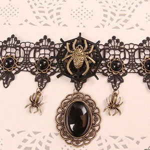 Halloween Gothic Lace Spider Necklace Choker
