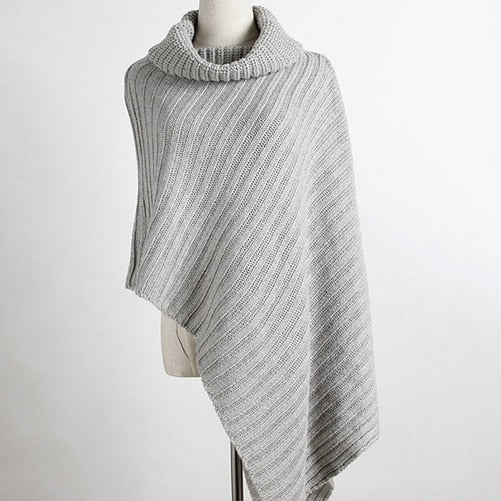 Cowl-Neck Knitted Asymmetrical Poncho in Gray and Khaki