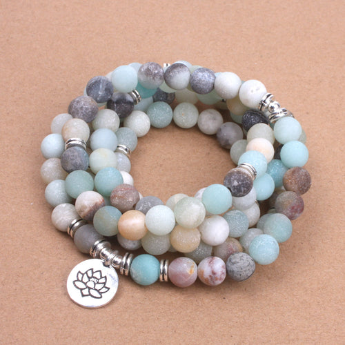 Frosted Beaded Bracelet with Various Charms