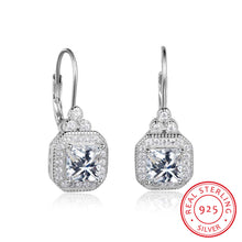 Load image into Gallery viewer, 925 Sterling Silver 6mm CZ Drop Earrings
