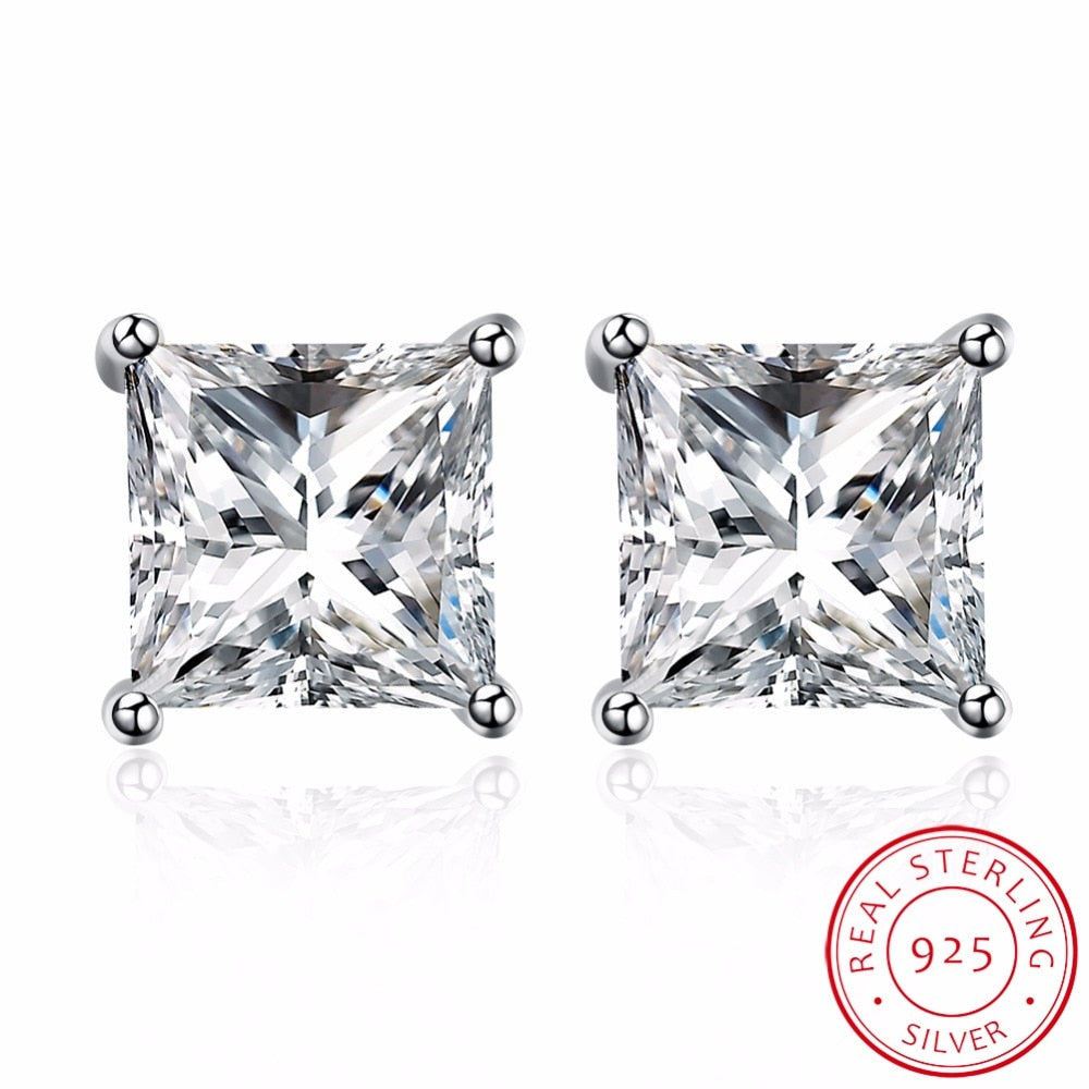 925 Sterling Silver Crystal Princess Cut 8mm Stud Earrings