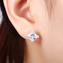 Load image into Gallery viewer, 925 Sterling Silver Crystal Princess Cut 8mm Stud Earrings