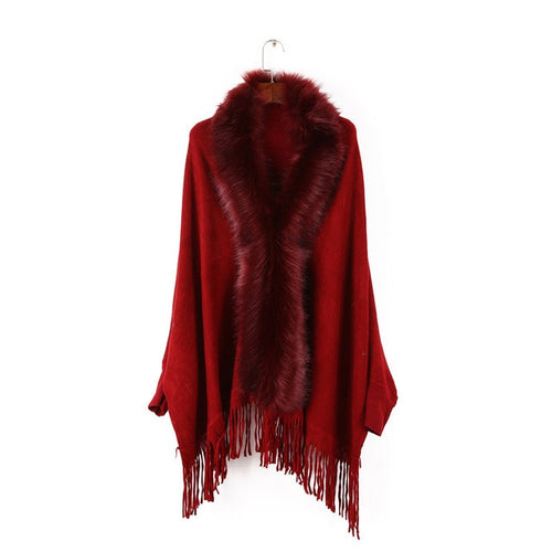 Faux Fur Poncho with Sleeves