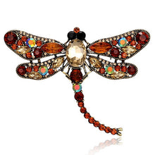 Load image into Gallery viewer, Vintage Dragonfly Brooch in Various Colors