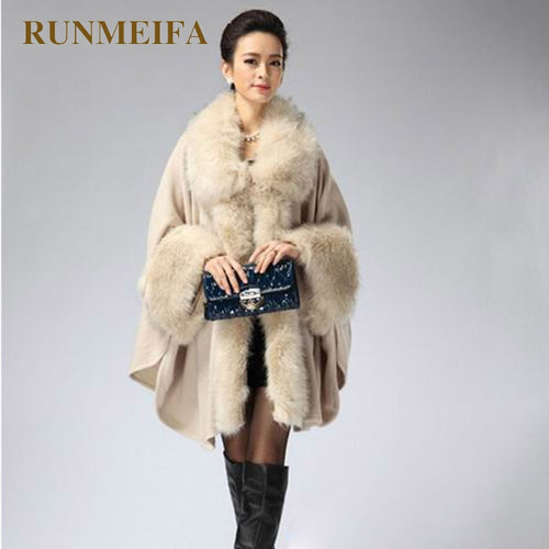 Faux Fur Poncho with Sleeves- Multiple Colors Available