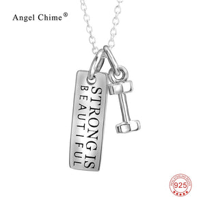 "925 Sterling Silver ""Strong is Beautiful"" Pendant Necklace"
