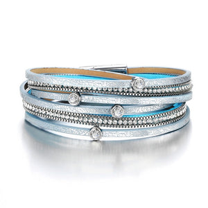 Multi-layer Leather Beaded Bracelet in Various Styles and Colors