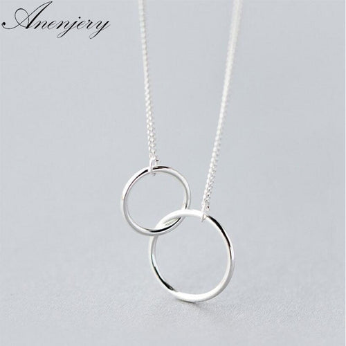 925 Sterling Silver Interlocking Circle Clavicle Short Necklace