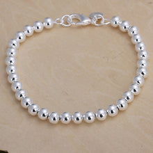 Load image into Gallery viewer, 925 Silver Plated 6MM Beaded Bracelet