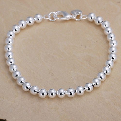 925 Silver Plated 6MM Beaded Bracelet