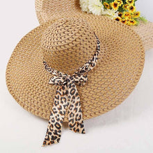 Load image into Gallery viewer, Wide-Brim Woven Hat with Leopard Print Bow- Multiple Colors Available