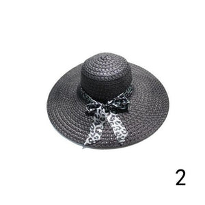 Wide-Brim Woven Hat with Leopard Print Bow- Multiple Colors Available