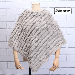 Knitted Furry Poncho- Multiple Colors Available