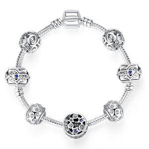 925 Silver Crystal Beaded Bracelet in Various Sizes and Colors
