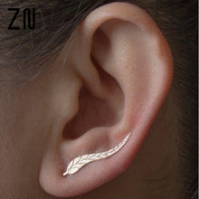 Load image into Gallery viewer, Delicate Leaf/Feather Earrings in Silver/Gold