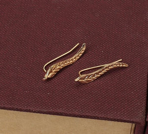 Delicate Leaf/Feather Earrings in Silver/Gold