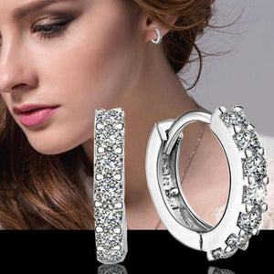 925 Silver/Crystal Hoop Earrings