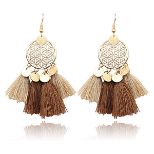 Bohemian Vintage Tassel Earrings in Various Colors