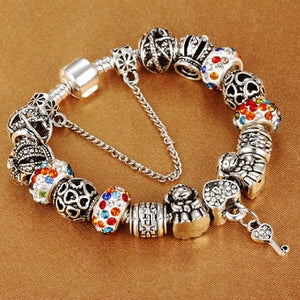 925 Silver Plated Beaded Bracelet in Various Styles and Colors
