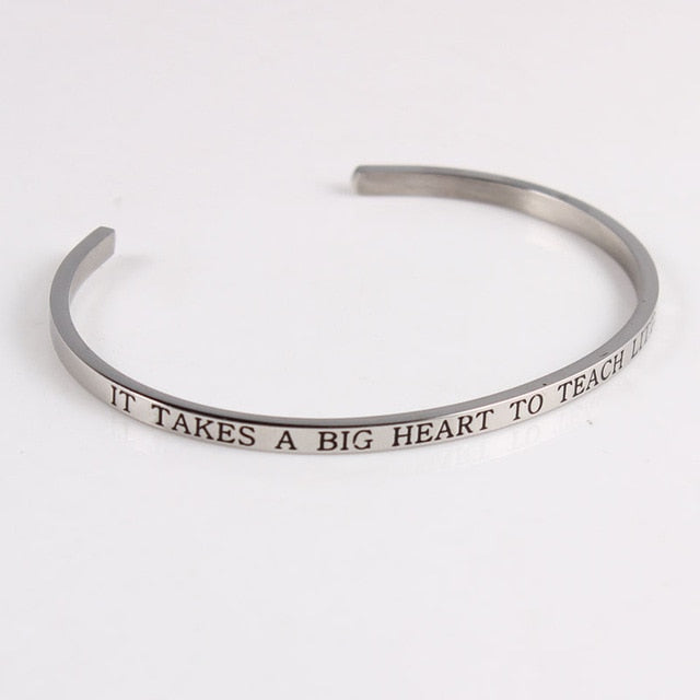 Stainless Steel Quotes Cuff Bracelet