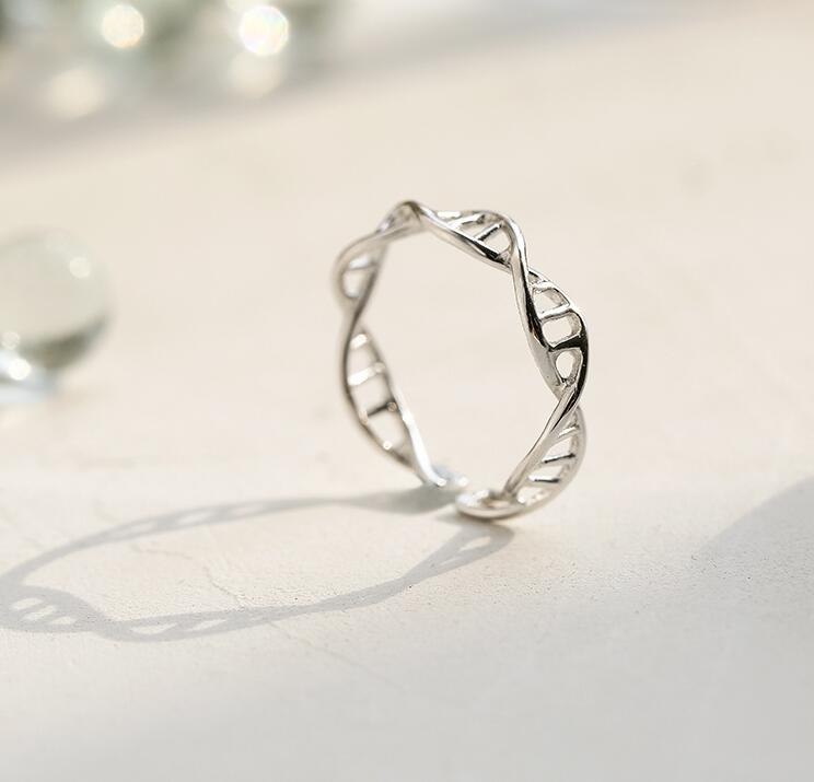 Silver DNA Shape Ring