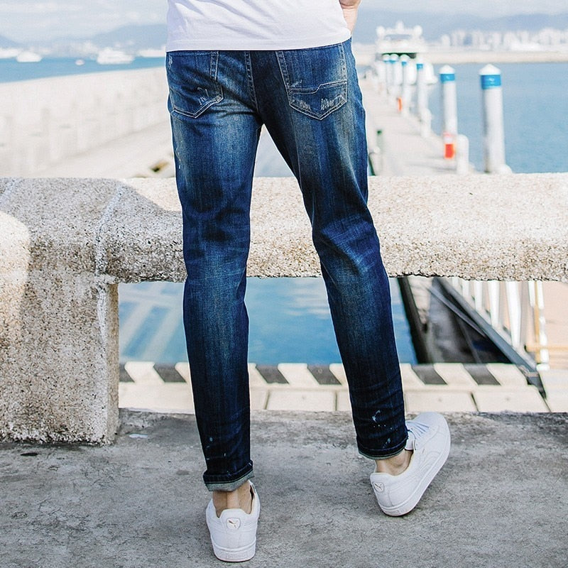 Men Patchwork Blue Jeans