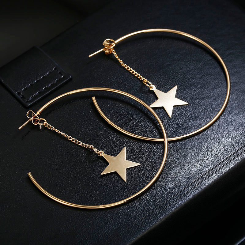 Big Circle Star Earrings